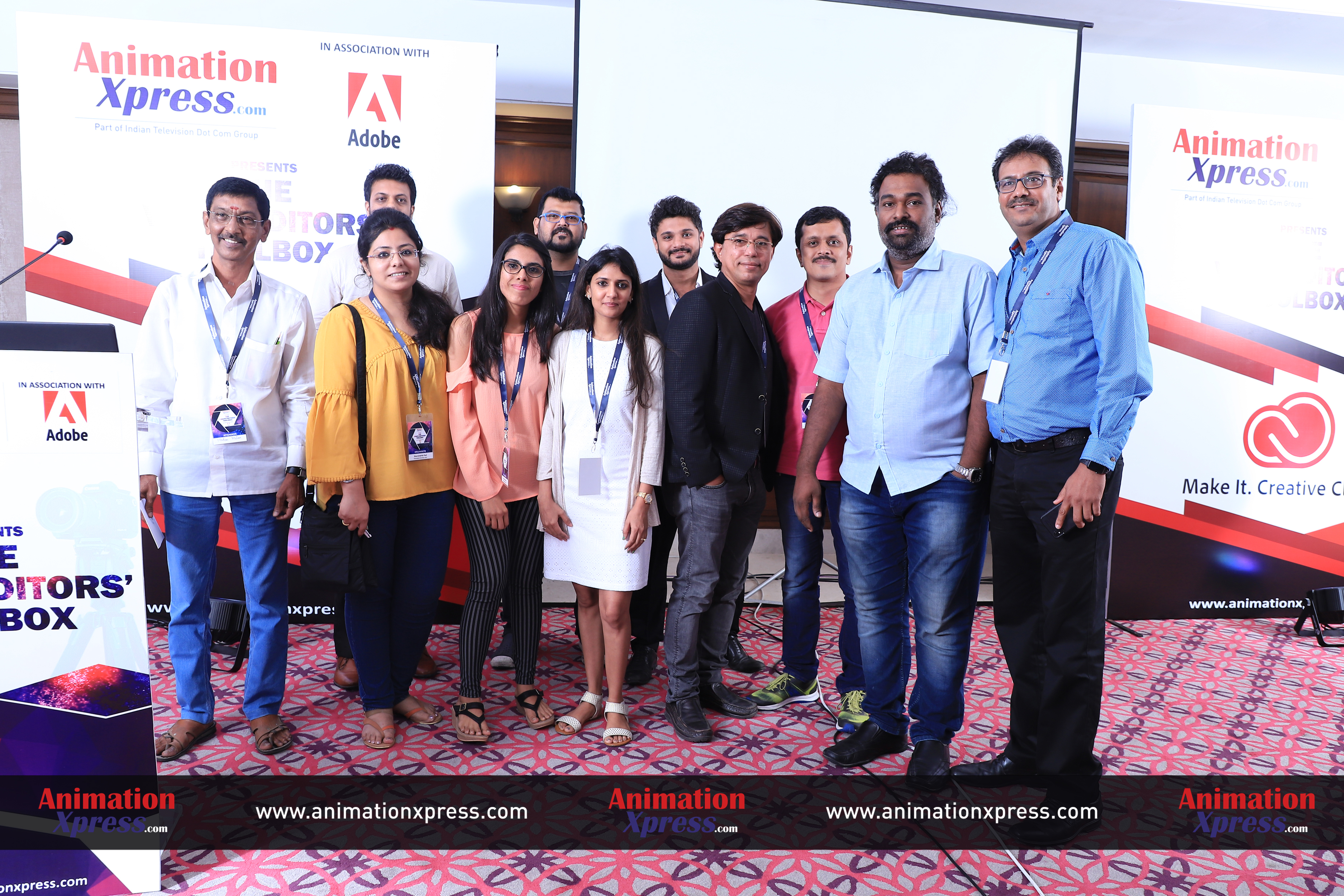 AnimationXpress and the Adobe team after the event