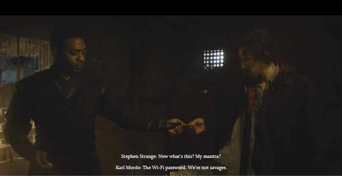 A conversation exchange between Stephen Strange and Karl Mordo