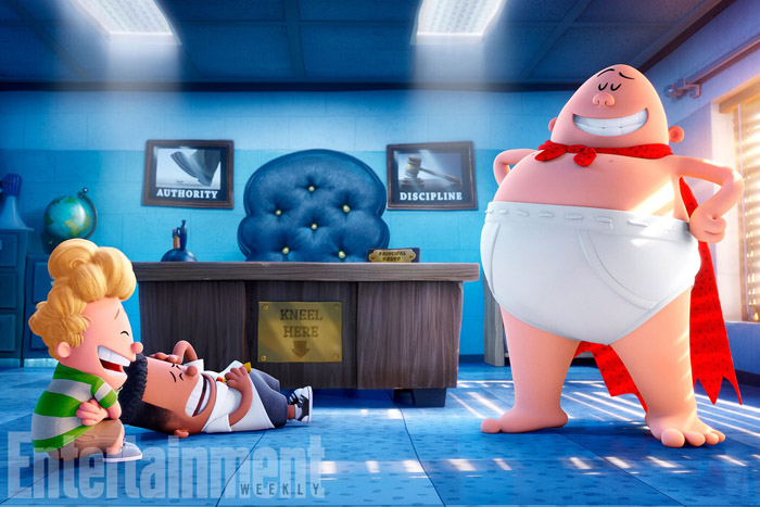 CAPTAIN UNDERPANTS: THE FIRST EPIC MOVIE (2017) (L-R) Harold (voiced by Thomas Middleditch), George (voiced by Kevin Hart), Captain Underpants (voiced by Ed Helms)