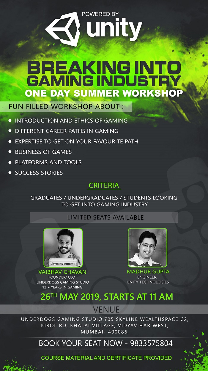 UnderDOGS to host one day summer workshop on game